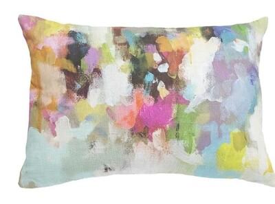 Indigo girl linen cotton lumbar pillow
