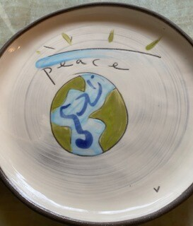 """Peace"" ceramic  round small  plate"