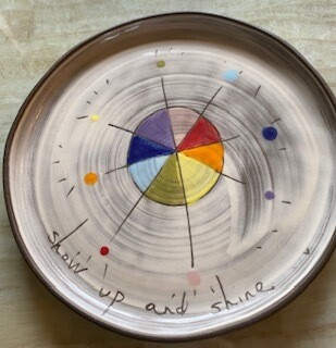 """show up and shine"" ceramic small round plate"