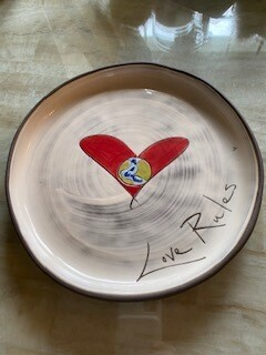 """Love Rules"" ceramic round  small plate"