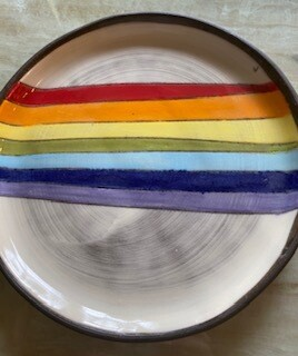 Rainbow ceramic small round plate SOLD OUT