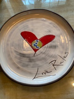 """Love Rules"" ceramic  dinner plate"