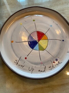 """Show up and Shine"" ceramic dinner plate"