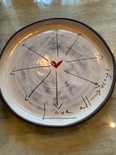 """Love all ways"" ceramic dinner plate"