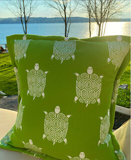 Green turtle pillow