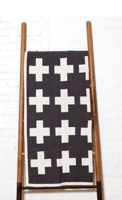 Swiss cross reversible throw blanket