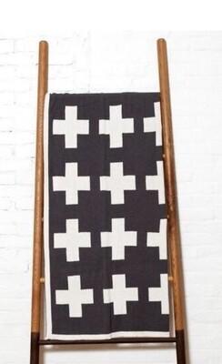 Swiss cross reversible throw blanket