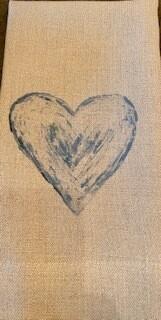 Blue Heart guest towel