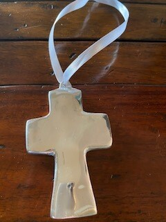 Baby silver cross ornament