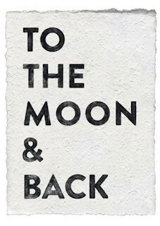 """""""To the Moon and Back"""" white paper print"""