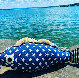 Patriotic Patty fish pillow-sold out