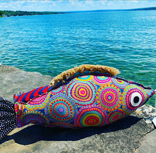 Spirograph fish pillow-SOLD OUT