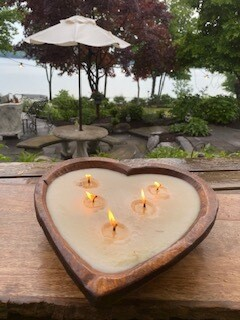 Wood heart citronella candle