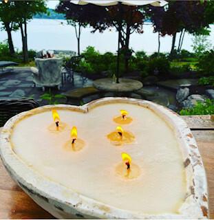 White wash heart citronella candle