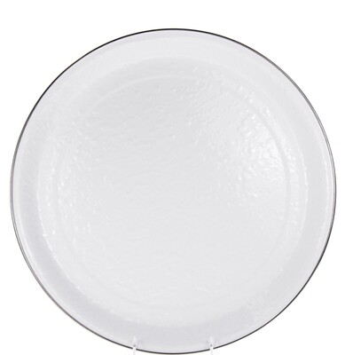 White enamelware medium tray-Received