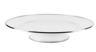 White enamelware cake plate-RECEIVED
