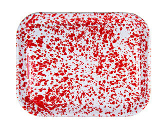 large red enamelware rectangular tray-RECEIVED