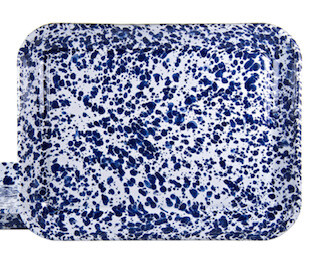 Blue swirl enamelware tray-RECEIVED