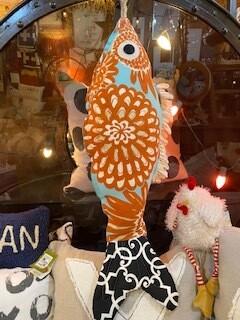 Orange burst fish pillow