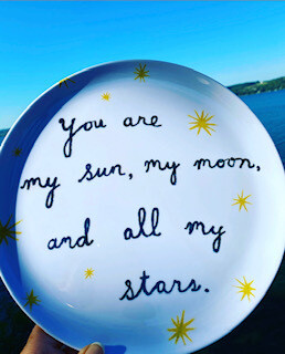 """""""You are my sun, my moon, and all my stars"""" plates (set of 4)"""