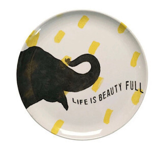 """Life is beauty full"" melamine plates-set of 4"
