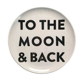 """""""To The moon & back"""" melamine plates-set of 3"""