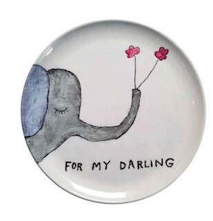 """for my darling"" melamine plate-set of 4"