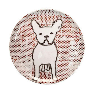 Frenchie melamine plates-set of 4