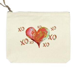 xoxoxoxo red heart canvas bag