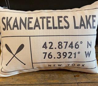 black & White Skaneateles Lake pillow