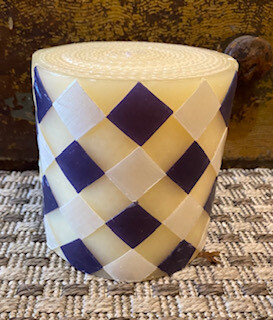 Blue and white argyle Mckenzie-Childs candle