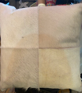 white hide pillows