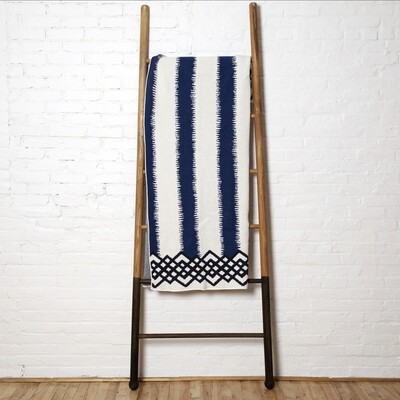 striped blanket-blue white