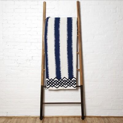 striped blanket-blue white