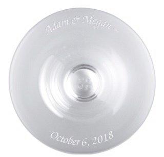 "Simon Pearce custom celebration bowl with ""Adam & Megan"" and ""October 6, 2018"""
