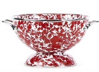 WM XL red swirl colander