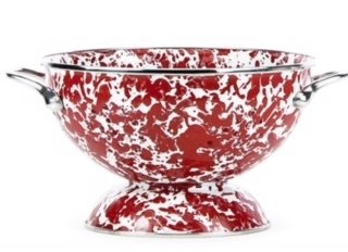 WM XL red swirl colander