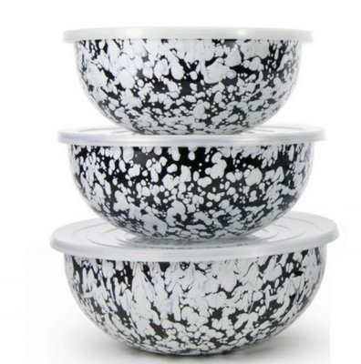 WM black swirl mixing bowls (3 bowls with lids)