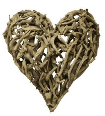 """Driftwood heart 24""""x24"""""""