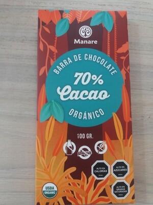 Barra de Chocolate Orgánico 70% Manare