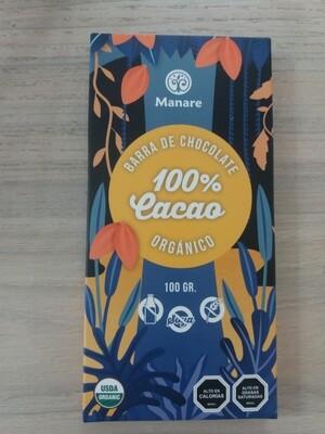 Barra de Chocolate Orgánico 100% Manare