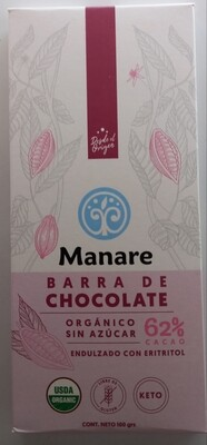 Manare Barra de Chocolate 62% Orgánico Sin Azúcar