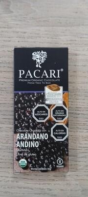 Chocolate Arándano Andino 60% cacao organico 50 grs.