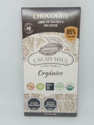 Chocolate s/gluten 85% Cacao Soul 100 grs.
