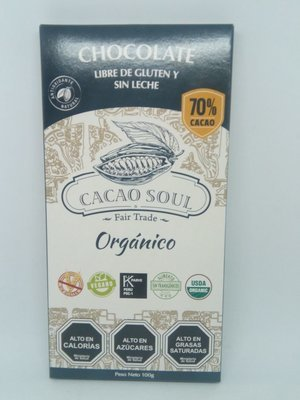 Chocolate s/gluten 70% Cacao Soul 100 grs.