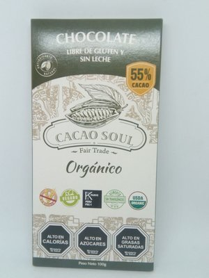 Chocolate s/gluten 55% Cacao Soul 100 grs.