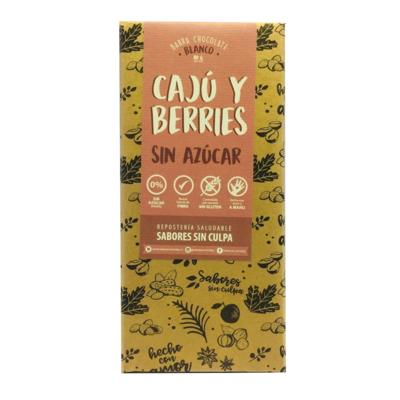 Chocolate Barra Cajú y Berries Sin Azúcar 80 grs.