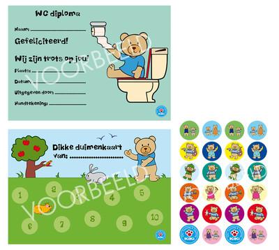 ACTIE: Dikke Duimenkaarten 6 x en 3 vellen Kiki stickers & 6 WC Diploma's van €12,50 nu voor €7,50
