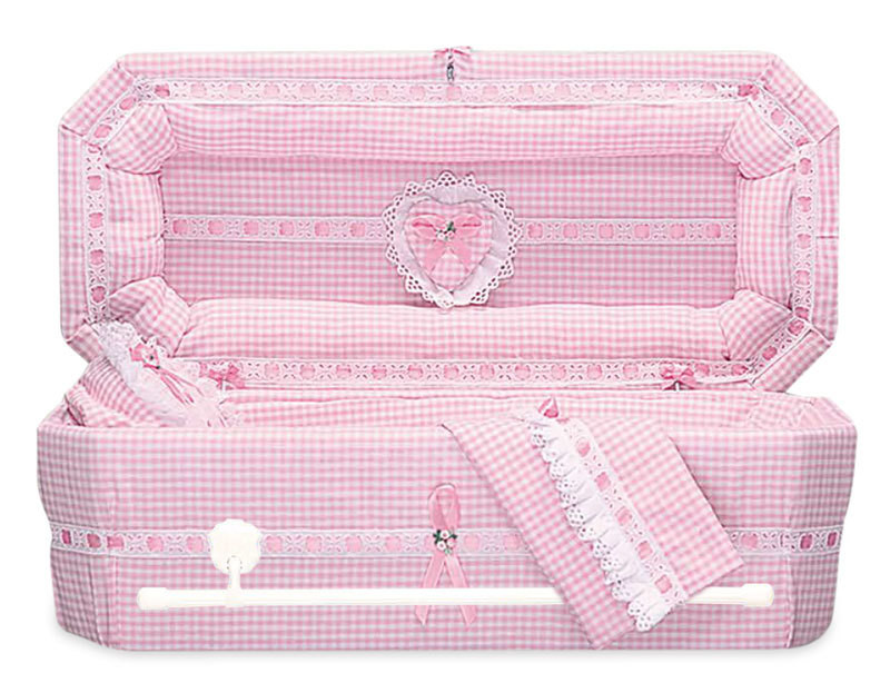 Gingham Cloth Covered Baby Casket (21 -24 Inch Interior)     C-21-24-GH