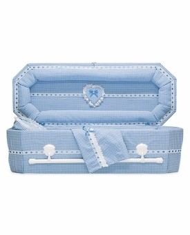 Gingham Cloth Covered Baby Casket (30 Inch Interior)     C-30-GH